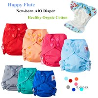 Wholesale happy baby cloth diapers resale online - 10Pcs Happy Flute Organic Cotton Newborn Baby Diapers Tiny AIO Cloth Diaper Double Gussets Breathable Reusable Fit KG Baby