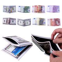 portefeuille imprimé en dollars achat en gros de-38 Conceptions US Dollar Euro Money Imprimé Unisexe Portefeuille Carte de Crédit Titulaire Portefeuille PU En Cuir Pound Bourse Cadeau NNA351