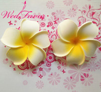 Wholesale plumeria hawaiian foam frangipani flower resale online - Flower WedFavor cm Artificial Hawaiian Foam Frangipani Plumeria Flower Heads For DIY Hair Accessory Wedding Decoration