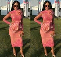 robes de soirée sud-africaines achat en gros de-2019 robes de soirée en dentelle sud-africaine appliqued manches longues robes de soirée thé longueur gaine courte mère de la robe de mariée sur mesure