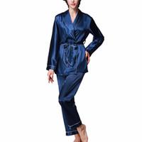 de37e2ce6a Girls Women Luxury Silk Satin Turndown Collar Pajamas Set Long Sleeve Top  Pants Sleepwear Loungewear 2Pcs Nightwear With Belt