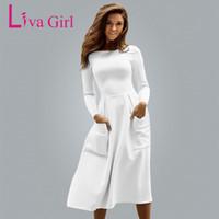 c130fe81eb Liva Girl Winter Autumn Women Casual Long Dresses Skater Dress Female Long  Sleeve White Sexy Midi Dress Office Pleated Dress