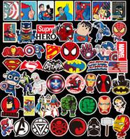 carros clássicos de ferro venda por atacado-50 Pçs / lote Marvel Anime Clássico Adesivos de Brinquedo Para Laptop Skate Bagagem Decalque Decoração Engraçado Homem De Ferro Spiderman Adesivos Para Crianças etiqueta Do Carro