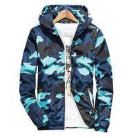 Wholesale Fluorescent Panel - New 2017 Autumn Hooded Jacket Men Thin Military Jacket Fluorescent Zipper Features Windbreakers Blue Jacket Plus Size 4xl ,5xl