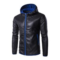Wholesale korean men hooded sweater jacket - Wholesale- 2017 Winter Men Faux Leather Jacket Gorgeous Hooded Sweater Coat Outwear Korean Style 984