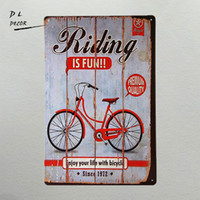 Wholesale iron art car - DL- riding bike fun day home decor living room wall poster vintage car and motor tin sign