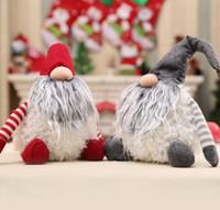 el yapımı yılbaşı süsü toptan satış-30cm İsveçli Santa Gnome Peluş El yapımı İskandinav Peluş Masaüstü Süsler Mini Noel Dekor süs bebek KKA6216
