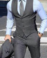 harris tweeds großhandel-Hochzeit Smoking Herringbone Tweed Grau Tweed Anzug Männer Set Slim Fit Custom Hochzeitsanzüge für Männer Jacke Hosen 3 Stück Blazer Smoking