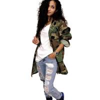 ingrosso abbigliamento di qualità per le donne di più dimensioni-Plus size Moda Camouflage Pattern Giacche a maniche lunghe Donna 2018 Abbigliamento casual di alta qualità Giacche e cappotti da donna