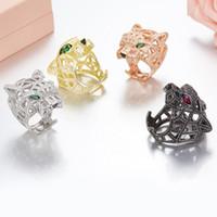 anillo de ojo verde al por mayor-ZoZiri Silver Panther Ring para mujeres hombres plata de ley 925 ojos verdes leopardo dedo Cubic Zirconia Ringen joyería del partido
