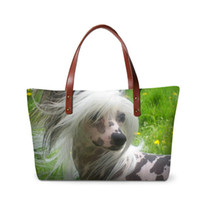 bolsas de asas chinas al por mayor-Ladies Designer OL Style Totes Animal Women's Handbags Chinese Crested Dog Printing Top-handle Bags Niñas bolso de hombro para viajar bolso
