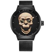 mesh gold armreif großhandel-Herrenuhr Gold Skull Skeleton Dreidimensionales Zifferblatt Schwarz Armreif Armband Luxusuhren Quarzuhr Army Sport Punk Armbanduhr
