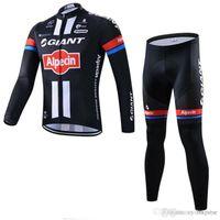гигантский длинный рукав с длинным рукавом mtb оптовых-Команда GIANT Велоспорт с длинными рукавами из трикотажа (нагрудник) брюки мужские тонкие быстросохнущие велосипедные костюмы Ropa Ciclismo MTB C1402