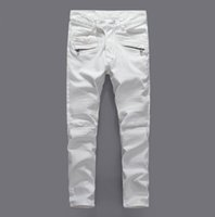 Wholesale trousers classical - High Quality Mens White Biker Jeans Famous Fashion Stretch Denim Moto Pants Men Classical Slim Motorcycle Long Trousers Size 28-38