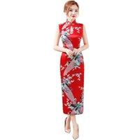 vestidos de flor vermelha chinesa venda por atacado-Imprimir Red Flower mangas chinês vestido de seda Rayon longo Qipao Sexy gotejamento Cheongsam Verão Halter vestido S M L XL XXL