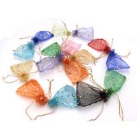 ingrosso grandi borse da regalo organza-Gild Organza Sacchetto dei monili 200pcs / lot stampato gioielli imballaggio sacchetto della garza di grandi dimensioni festa di nozze caramelle sacchetti di imballaggio del regalo