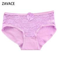 Wholesale Cute Lace Comfortable Underwear - ZAVACE 3pcs lot Comfortable Personalized lace cotton lace stitching cute girls panties girls panties women's sexy underwear