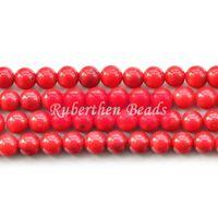 korallenstein naturals großhandel-Großhandel Trendy Naturstein Großhandel Hohe Menge Rote Koralle Lose Perlen Stein Runde Perle Beste Schmuckherstellung Zubehör