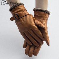 ingrosso guanto di pelle di agnello-DANKEYISI cuoio genuino guanti EleWomen agnello Genuine Leather Gloves Men Autunno Inverno termica d'avanguardia calde Femminile Guanto