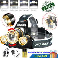 Wholesale 12000 Lumens Headlamp x XM L T6 LED Headlight Head Torch Lamp Hunting Camping Head Light Flashlight Battery Charger Car Charger
