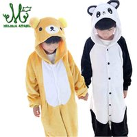 Wholesale panda pajama set - Children Pajama Unicorn Panda Flannel Stitch Animal sleepwear Kid Pajama sets  Children Clothing for 5 4 6 8 10 12years