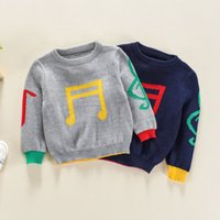 Wholesale boy thickening sweater for sale - Group buy Winter Sweaters Pullover Thicken Color Collision Printed Musical Notes Knitwear Clothes Jumper Fine Wool Long Elastic Sleeve Pure Sweaters