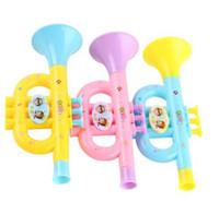 trompeteninstrument groihandel-1 stücke Kunststoff Trompete Hooter Kunststoff Baby Musik Kinder Spielzeug Musikspielzeug Instrument Frühen Spielzeug Für Kinder Zufällige Farbe
