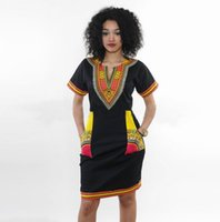 Wholesale costume national dresses - 2018 Hot African National Costume Ethnic Dashiki Dresses Standard Code Tight Style High Elastic Printing Buttocks New Dress Mujer Vestidos