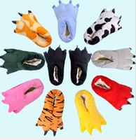 zapatillas de felpa suave de dibujos animados al por mayor-Mujeres Hombres Zapatos Huaraches Zapatillas de deporte Lindo Divertido Animal Patas de la pata Monstruo Garra de dibujos animados Zapatilla Caliente Suave Felpa Invierno Zapatos de interior
