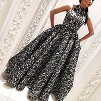 high neck sleeveless evening dresses Australia - Dubai Fashion Lace Prom Dresses High Neck Ruched Sleeveless Floor Length Evening Gown Glamorous A-Line Celebrity Long Prom Party Gowns