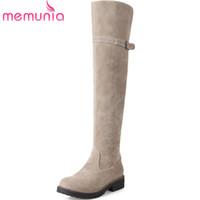 diz boyundaki büyük boy toptan satış-Memunia üzerinde diz boots koleji tarzı moda ayakkabı sonbahar kış akın zip bayan botları med topuklu büyük boy 34-43
