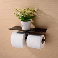 suporte para papel higiênico venda por atacado-Latão Duplo Suporte de Papel Higiênico Caixa de Rolo Titular Caixa De Tecido Montado Na Parede Titular Acessórios Do Banheiro Prateleira