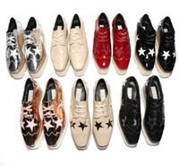 schnüren sich oben keilschuhe frauen großhandel-2018 hochwertige neue Großhandel Stella Mccartney Schuhe Frau Schuhe Plattform Elyse Star Wedge Britt Schnürschuhe 81515