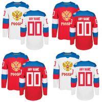 team trikots namen großhandel-Herren Team Russia Custom Weiß Rot 2016 Weltmeisterschaft der Eishockeytrikots Any Name Any Number Stitched