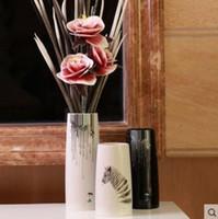 ingrosso fiore zebra-bianco ceramica zebra creativo conciso astratto fiore vaso vaso casa arredamento mestiere camera decorazione artigianato figurine di porcellana