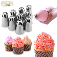 Wholesale ball tools fondant online - 9 Russian Spherical Ball Stainless Steel Icing Piping Nozzle Pastry Tips Fondant Cupcake Baking Tip Tool Sphere Shape Crea