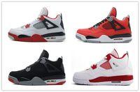 homens de meia sapato preto venda por atacado-4 4s sapatos de basquete homem autêntico iv botas 4s multicolor roxo amarelo / preto vermelho / cinza verde sports sneakers metade