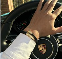 charme armband liebe großhandel-Armbänder Männer brackelts Bangles Pulseiras 6mm Weave Echtes Leder Nagel Armband Charm Liebe Manschette Armband Masculina