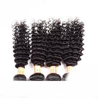 siyah örgü saç uzantıları toptan satış-İşlenmemiş Brezilyalı 50 g / adet Doğal Siyah Düz Vücut Gevşek Derin Kıvırcık Perulu Bakire İnsan Saç Uzantıları Boyanabilir Örgü Saç Atkı