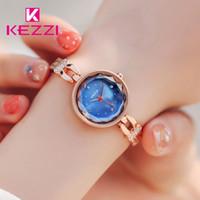 vestidos de diamantes de imitación azul oro al por mayor-Kezzi Brand Lady Classic Blue Quartz Pulsera Reloj Mujer Lujo Rhinestone Rose Gold Color Dress Relojes de pulsera Reloj Mujer