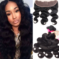Wholesale loose deep wave lace frontal resale online - 8A Mink Brazilian Straight Body Wave Loose Wave Kinky Curly Deep Wave Hair Bundles With x4 Ear To Ear Lace Frontal Closure Human Hair