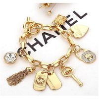 Wholesale charming heart key chain - Luxury Bracelet Men's Women's Heart Tassel Key Charm Pendant Cuff Bracelet New Jewelry