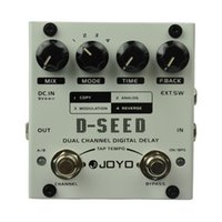 delay joyo venda por atacado-JOYO D-SEED Pedal de Efeito de Guitarra de Atraso Digital de Canal Duplo Max. Atraso 6 segundos