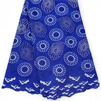 bordado suizo al por mayor-DOY1019 (5 yardas / lote), encaje de voile suizo bordado de moda con piedras, encaje de algodón africano de clase alta para el vestido de novia de fiesta