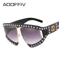 Wholesale pearl shade - AOOFFIV Oversized Pearl Half Frame Sunglasses Women Brand Designer Elegant Ladies Sun Glasses For Female Clear Gradient Shades