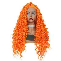 turuncu ön dantel sentetik peruk toptan satış-Kıvırcık Sentetik Peruk Bebek Saç Ile Turuncu Tutkalsız Uzun Sentetik Saç Isıya Dayanıklı Dantel Ön Peruk Kıvırcık Peruk