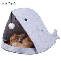 кот акулы дома оптовых-Pet Cat Теплый Спальный Мешок Мягкая Кровать Питомник Cats Puppy House bed Пещерные животные кошки Собака теплый дом Акула Форма Моющийся Съемный