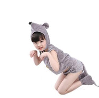 Wholesale mouse clothes - 2018 New style children Cosplay Mouse Animal perform clothing Boys and girls Dance Conjoined clothes