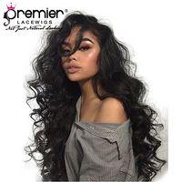 super cheveux brésiliens achat en gros de-360 Full Lace Wigs Perruques Cheveux Remy Brésiliens Super Wave Pré-Cueillie Noeuds Blanchis 150% Densité Humaine Dentelle Perruques