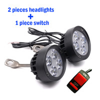 Wholesale 2PCS Motorcycle Spotlight Headlights V LED Moto Side Mirror Lights Motorbike Driving Headlamps Spot Work Lamp With Switch
